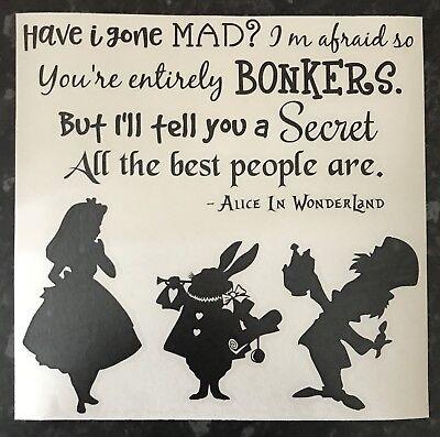 Alice In Wonderland Decal vinyl sticker Ikea Ribba Box Frame Mad Hatter DIY Gift ()