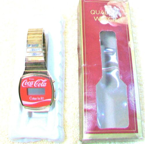 """NEW""""Coca-Cola Digital Watch""""Red Face, Gold ToneCase & Stretch Band Needs Battery"""