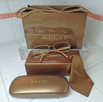 Vtg GUCCI RX Eyeglasses w Case, Cloth, Box & Bag! 130 GG 2819 VOA~w side RS~80's