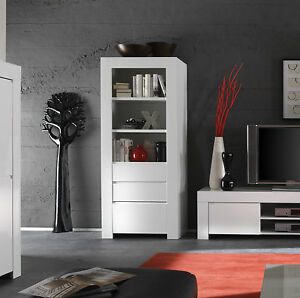 Credenza vetrina colonna con 2 cassetti laccato bianco - Mobile vetrina moderno ...