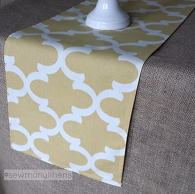 Yellow Table Runners (Yellow Table Runner Quatrefoil Moroccan Lattice Table Centerpiece Linens)