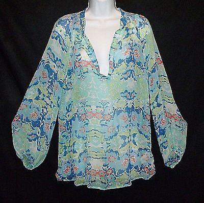 Ella Moss X Pea Pod Maternity 100  Silk Chiffon Floral Print Boho Blouse Top L