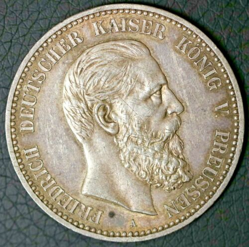 Scratched Obverse 1888 5 Mark Prussia Frederick III German States Silver Coin