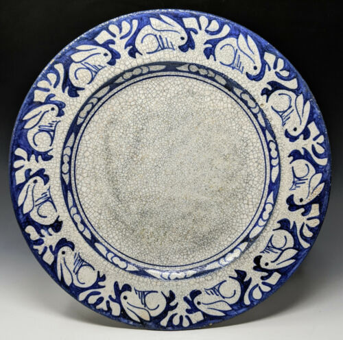 """1896-1928 DEDHAM POTTERY 12.25"""" Rabbit Charger, Blue & White Arts & Crafts Plate"""
