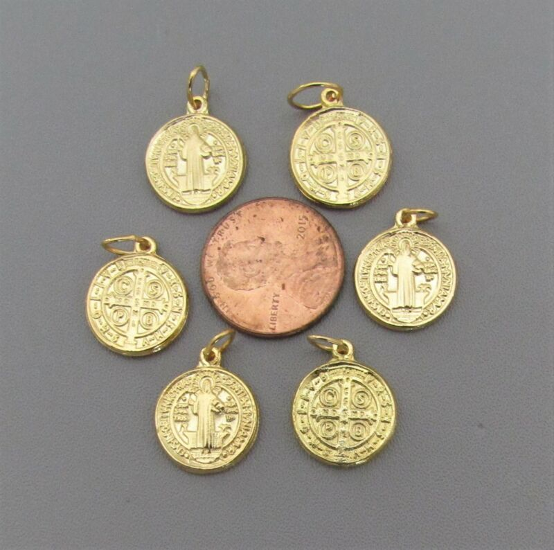 """6 pc Holy Medal Charms Italy ~ St. Saint BENEDICT 1/2"""" SMALL M110 finish GOLD"""