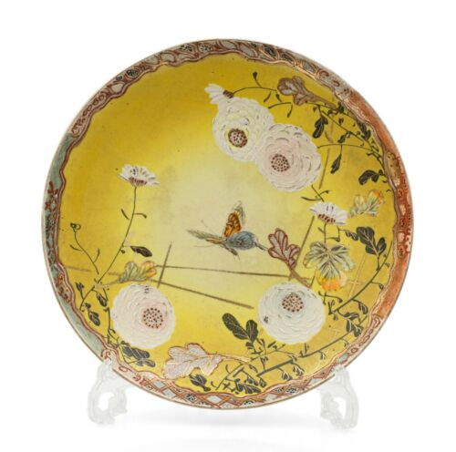 Antique Meiji Satsuma Pottery Charger with Yellow Ground Kyoto Region c1910