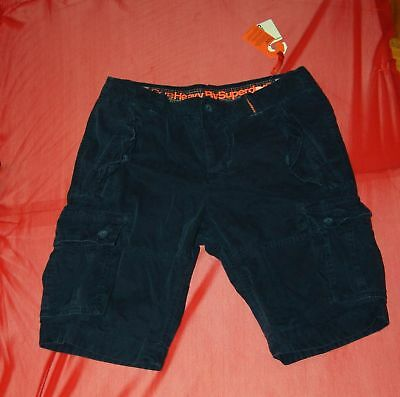 """NWT Core Heavy by Superdry mens airforce navy cargo Shorts size M - W 31.5"""""""