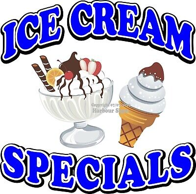 Ice Cream Specials Decal Choose Your Size Concession Food Truck Sticker