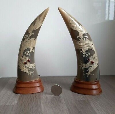 Pair of Vintage Carved Buffalo Horns - Carved with Ornate Oriental Dragon Design