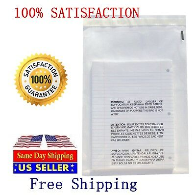200 9x12 Self Seal Suffocation Warning Clear Poly Bags 1.5 Mil Free Shipping
