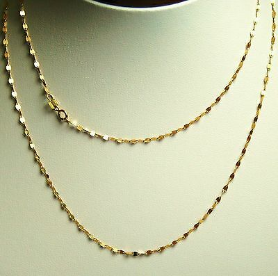 14k solid y/gold 18 inches long mirror link strong very sparkly chain 0.9 gram