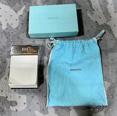 Tiffany & Co. Sterling Silver Paper Notepad Holder in Tiffany Pouch & Box Notepad Paper Holder