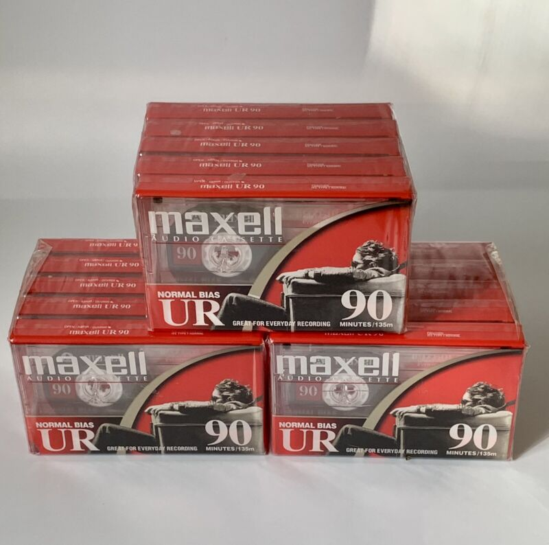 NEW SEALED Lot of 15 Maxwell UR 90 Min Blank Audio Cassette Tapes !