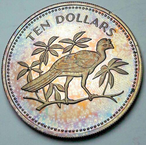 1974 BELIZE 10 DOLLARS PROOF COLOR MONSTER RAINBOW GEM TONED BU UNC (DR)