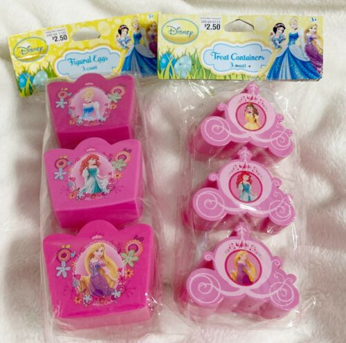 Disney Princess 3D Easter Treat Crown and Carriage Containers, Lot of 2 Packages