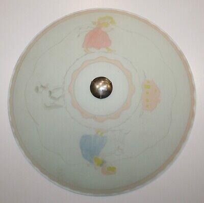 Vintage Little Bo Peep Nursery Ceiling Light Fixture Painted Frosted Glass EUC
