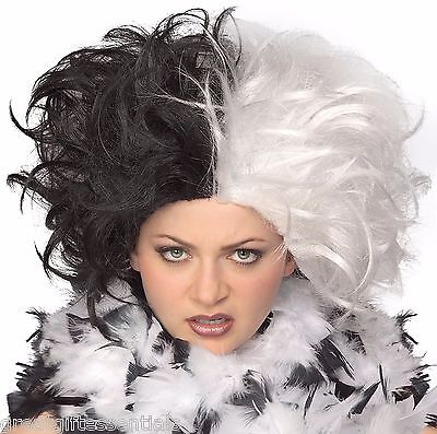 Cruella de Vil Costume WIG Black & White Ms. Spot Hair Adult Deville Dalmations