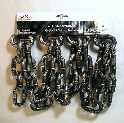 Halloween Decor Props 6 ft. Plastic Chain Garland, Large Chain Black Silver