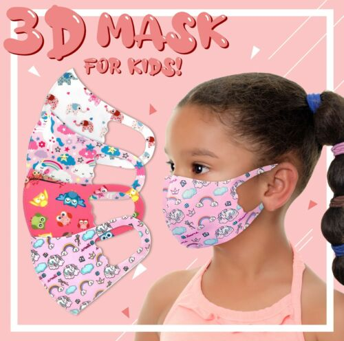 4Pack Girls Face Mask Kids Toddler Reusable Washable Cover Breathable Protection