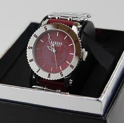 NEW AUTHENTIC VERSUS BY VERSACE MADISON SILVER BURGUNDY WOMEN'S S22040016 WATCH