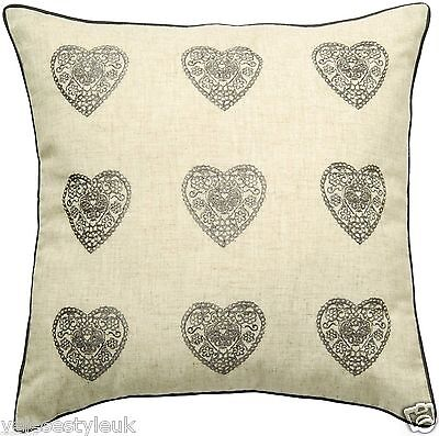 """Embroidered Vintage  Hearts Cushion Cover,  Silver 18""""x 18""""/ 45 x 45 cms"""