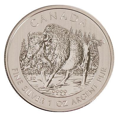 Lot of 5 - 2013 $5 1oz Silver Canadian Wood Bison .9999 BU