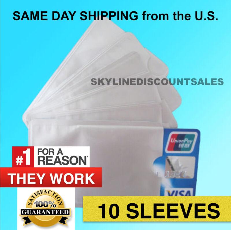 10 PACK HIGH LEVEL RFID Blocking Credit Card Sleeve Protector Shield WaterProof