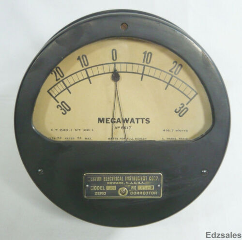 Antique Large Weston Electrical MegaWatts Gauge Model 343