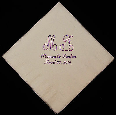 450 personaliezed luncheon monogram napkins wedding napkins custom printed - Monogrammed Wedding Napkins
