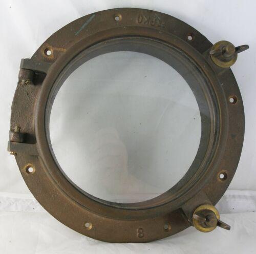 "Antique Perko bronze porthole 11.75"" dia. porthole, 8"" glass Nautical Maritime"