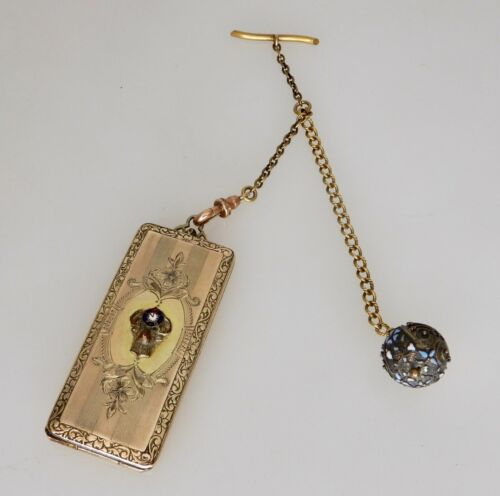 Antique Gilt Sterling Silver Gold Filled Stamp Card Holder with Watch Fob -83936