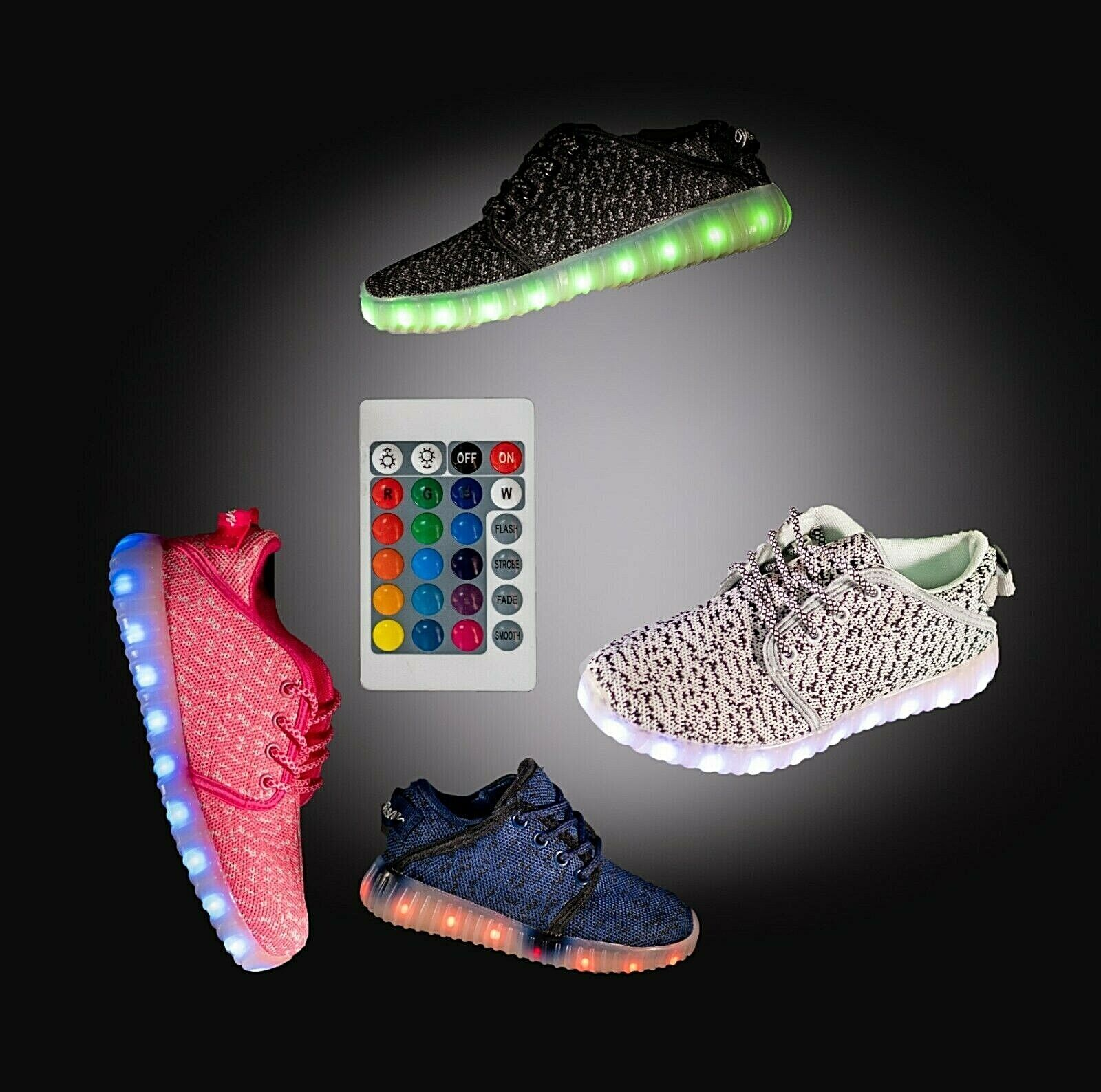 LED Light Up Shoes Sneaker Flashing for Girls Boys Kids and Youth Remote NIB Clothing, Shoes & Accessories