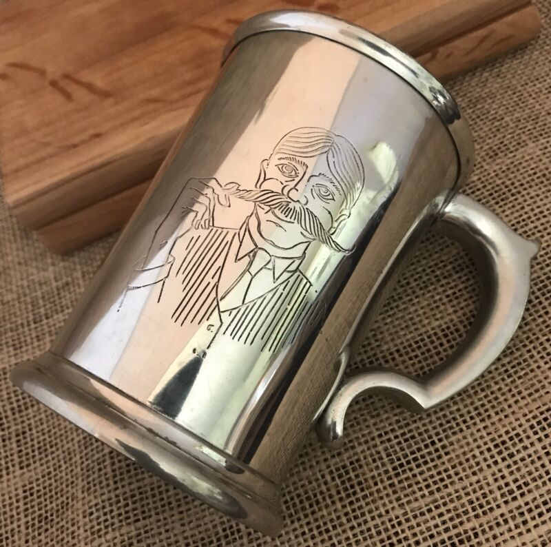 FINE ENGLISH PEWTER Mustache BEER DRINKING MUG SHEFFIELD ENGLAND CRAFTSMEN