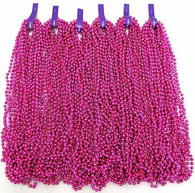 Mardi Gras Beads Hot Pink Disco 6 dozen Party Baby Shower Parade 72 Necklaces