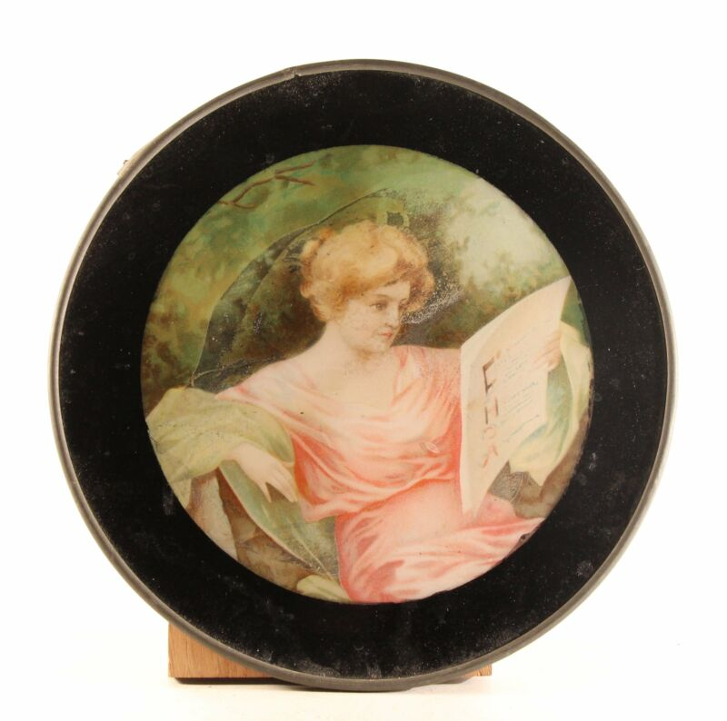 """Antique 8"""" Flue Cover """"Girl Reading"""" Glass With Metal Frame"""