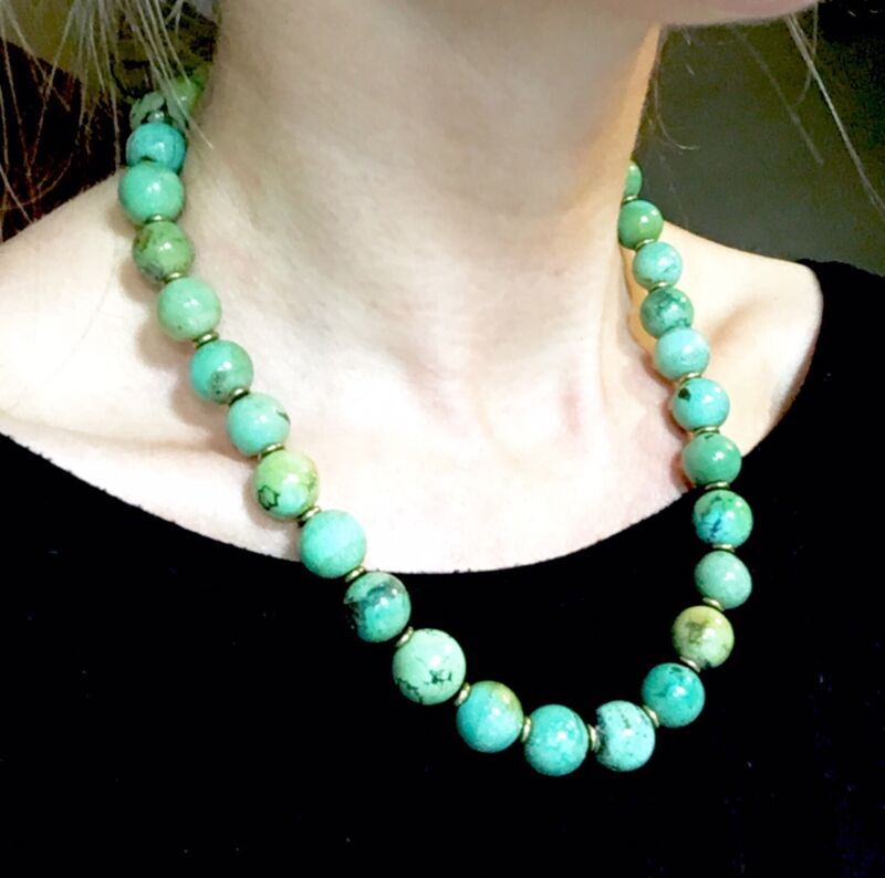 BIG 93g ANTIQUE or VINTAGE Green TURQUOISE NECKLACE