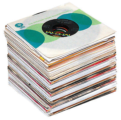 """LOT OF 50 7"""" 45 RPM RECORDS Jukebox Stock 60s-90s Sleeves"""