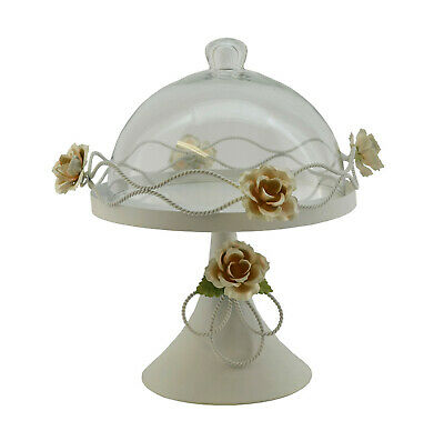 Metal round cake plate with glass dome - Dome Cake