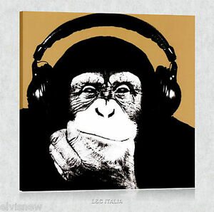 Monkey-STEEZ-QUADRO-MODERNO-STAMPA-TELA-POSTER-SCIMMIA-ARREDAMENTO-CASA-QUADRI