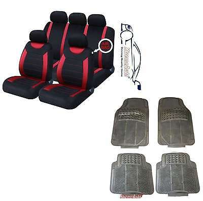 CARNABY RED Universal CAR SEAT COVERS PROTECTORS  RUBBER MATS GENUINE FOOT WELL