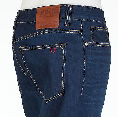 TRUE RELIGION Mens Slim Straight Denim Jeans DENIM BLUE Embroidered $295