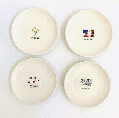 Rae Dunn Magenta Fourth 4th of July 2018 Ceramic Set of 4 Small Dessert Plates](Fourth Of July Plates)