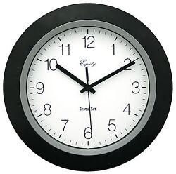 40222B Equity by La Crosse Insta-Set 10 Analog Wall Clock - Black