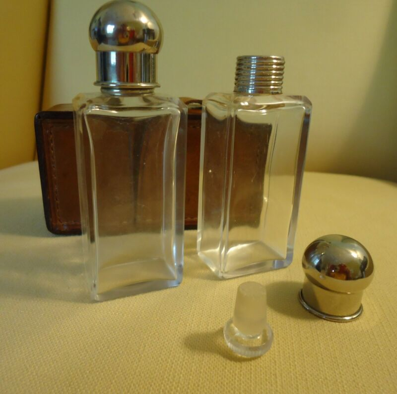 Antique Traveling Perfume Bottle Set w/ Leather Case & stoppers