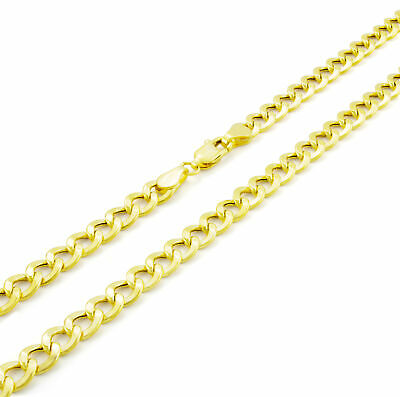 """10K Real Yellow Gold 5.5mm Curb Link Cuban Chain Necklace Mens Womens 18""""- 30"""""""