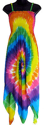 Dress Handkerchief Hem (Rainbow Tie Dye Handkerchief Hem Sundress Summer Beach NEW Womens S M L XL 1XL)