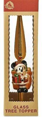 Disney Parks Santa MickeyMouse Glass Ornament Holiday Christmas Tree Topper.Gold