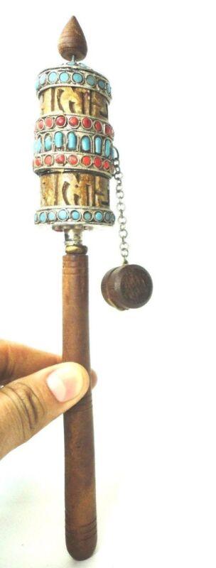 Vintage Colorful  Tibetan Prayer wheel w/ semi Precious stones turquoise & Coral