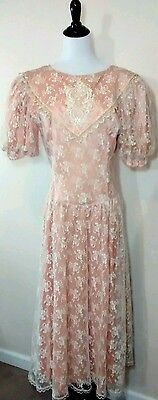 NOS Gunne Sax Jessica McClintock Vintage Lace Puffy Sleeve Dress Junior 11 1980s