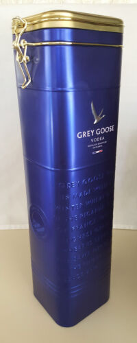 2 Grey Goose Vodka Collectible Blue Tins w Hinged Lid - Empty